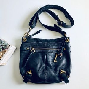 Fossil Black Leather Crossbody Purse